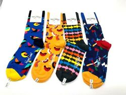 Authentic Happy Socks 4 pair Assorted Patterns Size 9 11 Fun Novelty $17.95