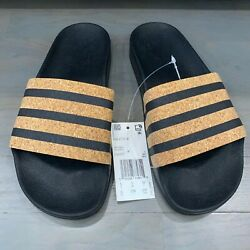 Adidas Adilette Slides Black Cork CQ2237 Women#x27;s Size 6 Made In Italy New $49.88