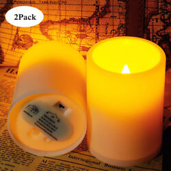 2Pcs Flickering Flameless Resin Pillar LED Candle Lights w Timer for Home Party $7.49