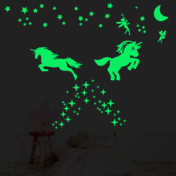 2 Sheet Glow in The Dark Stars for CeilingUltra Brighter Unicorn Wall Bedroom $13.14