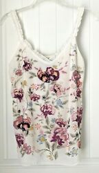 White House Black Market Women's M  Embroidered Floral Ruffled Tank Top Layered  $18.98