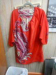 Uncle Frank red dress large with flower print 34 length sleeves $10.00