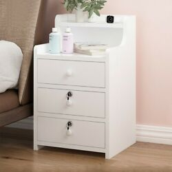 Simples End Table Bedroom Nightstand Coffee Table 3 Drawer With Lock Cabinet $57.89