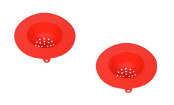 2 Red Silicone Sink Strainers Kitchen Filter Drain Food Catcher FREE SHIPPING $11.49
