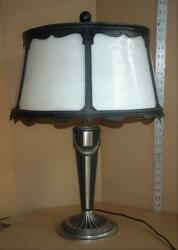 VTG Art Deco Table Lamp Antique Lamp Base w Panel Glass Shade Original Finish $424.99