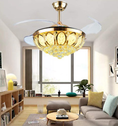 42quot; Crystal Invisible LED Ceiling Fan Lamp Remote Control Chandelier Silver Gold $164.90