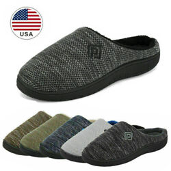 Men#x27;s Memory Foam Slippers Comfort Knitted Closed Toe Indoor Outdoor House Shoes $11.99