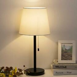 Set of2 Fabric Shade Classical Table Bedroom Lamp Lights Pull Chain Switch White $35.79