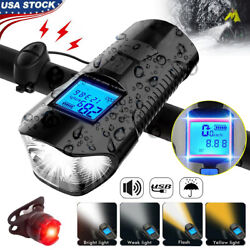 Rechargeable Bike Light Front Rear Headlight Taillight USB Bicycle Speedometer $15.91
