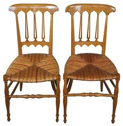 2 Antique Biedermeier Solid Maple Parlor Dining Side Accent Chairs Wicker Seat $1020.00