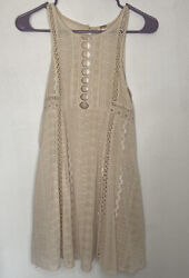 Free People Tan Beige Lace Boho Sleeveless Dress Size 0 $19.99
