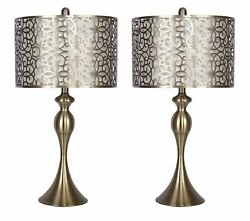 27quot; Antique Soft Brass Table Lamp w Antique Soft Brass Shades Set of 2 $122.99