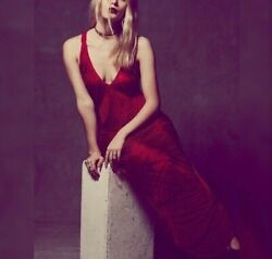 Free People Limited Edition Jill's Holiday Dress XS New Fringe Red Maxi 11055 $62.97
