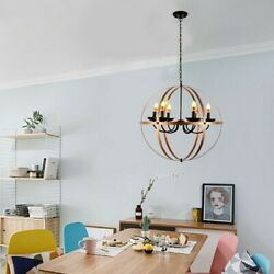 Round Hanging Metal Orb Chandelier Lamp Fixture Globe Cage Ceiling Pendant Light $44.84