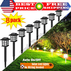 SOLAR LED PATHWAY LIGHTS Set Outdoor Path Light Yard Garden Walkway Lamp 8 PACK