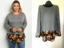 GRAY KNIT FLORAL LAYERED TOP PLUS BOHO TUNIC FALL 0X XL NEW $13.34