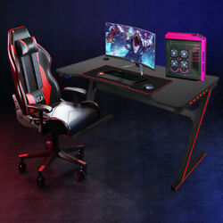 Gaming Desk 47 inch Home Office Computer Desk Black Workstation With LED Light $105.88