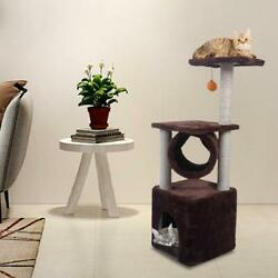 36quot; Brown Pet Cat Tree Play House Tower Condo Bed Scratch Post Toy Balls $26.99