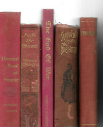 Lot 5 RED Shades of RED Old Vintage Antique Rare Hardcover One Signed $18.94