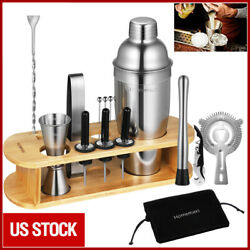 17Pcs Bartender Kit Cocktail Shaker Set Stainless Steel Bar Tools w Bamboo Stand $30.99
