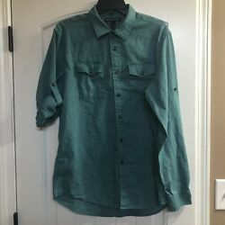 MICHAEL KORS Green Adjustable Button Sleeve Button Down Pocket Shirt Size Large $16.99
