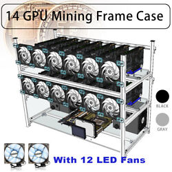 14 GPU Open Air Frame Mining Rig Stackable Case ETH ZCash amp;12 LED Fan Aluminum $78.59