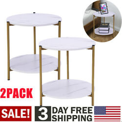 Set of 2 Wood White Sofa End Side Bedside Table Nightstand With Storage Rack B2 $42.64
