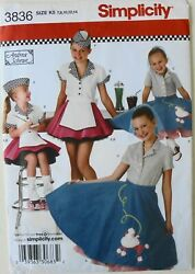 Simplicity 3836 Girls Poodle Skirt Top Hat Costumes Sewing Pattern Sz 7 14 $1.99