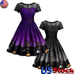 US Women#x27;s Halloween Costume Print Lace Panelled Dress Ladies A Line Party Dress $11.49