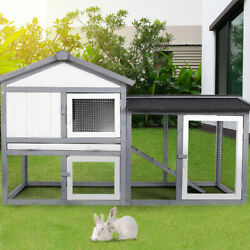 57quot; Elevated Outdoor Small Animal Backyard Wooden Weather Resistant Rabbit Hutch $145.99