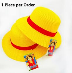 One Piece Luffy Costume Straw Hat Boater Beach Hat for Halloween Anime Cosplay $9.95