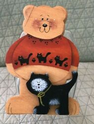 GLASS CANDY JAR WITH HANDCRAFTED WOOD LID HALLOWEEN BEAR $5.99