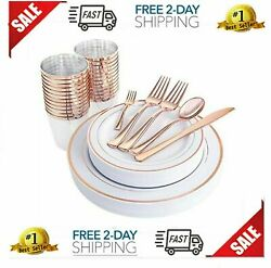 25Guest Rose Gold Plastic Plates With Silverware NEW FREE SHIPING $41.95