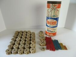 Vintage Spalding Original Tinkertoy Canister with 57 pieces #1330 $25.96