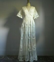 IVORY SHEER LACE EMPIRE WAIST MAXI DRESS XS $55.00