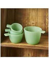 Set of 4 Jade Green Glass Measuring Cups Vintage Jadeite $24.95