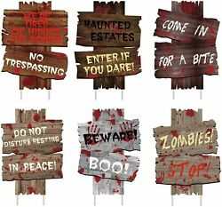6PCS Halloween Decorations Yard Signs Stakes Beware Props Outdoor Decor Scary $15.99