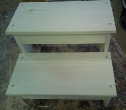 WOODEN BENCH WIDE PLAIN SKIRT 2 STEP STOOL PINE WOOD UNFINISHED SOLID WOOD $35.00