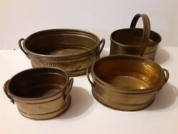 Vintage Brass Lot Of 4 Planters $15.30