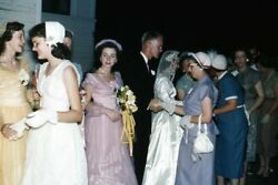 35mm Slide 1950s Red Border Kodachrome Bridal Party Wedding Colorful Dresses $19.99