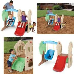 Swing Set Plastic kids Playground Outdoor Climber Wave Slide Weather Resistant $175.99