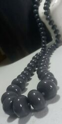 Vtg CHUNKY Gray Bohemian LONG 31quot; Graduated OVERSIZED PILL Lucite Bead Necklace $18.99