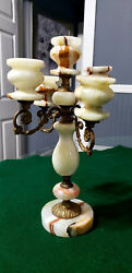 Vintage Alabaster Five Arm Candelabra Candle Holder. $85.00