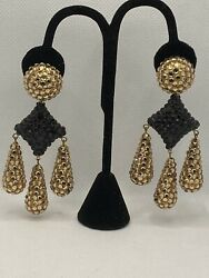 MASSIVE STATEMENT RICHARD KERR CRYSTAL CHANDELIER CLIP EARRINGS $149.99