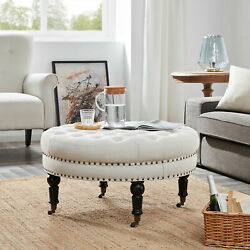 Round Ottoman Large Tufted Upholstery Bedroom with Caster Wheel Beige $155.99