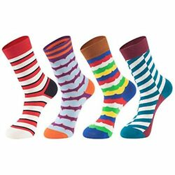 Mens Novelty Socks Pack4 Pairs Colorful Cool Pattern Funny Crazy Dress With $20.92