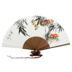 Hand Folding White Paper Bamboo Wall Art Home Deco Handmade Flower Painting Fan $24.95