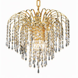 GOLD CHANDELIER ASFOUR CRYSTAL BEDROOM DINING ROOM HALLWAY KITCHEN 4 LIGHT 14quot; $342.00