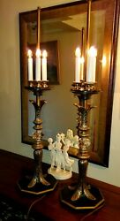 VINTAGE HOLLYWOOD REGENCY 3 SETTING LIGHT CANDELABRA BRASS AND CRYSTAL LAMPS 33quot; C $274.31