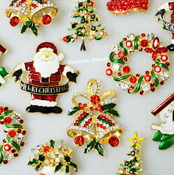 12 Christmas Holiday Party Pins Brooches Lot Santa Doves Xmas Tree Rhinestones $15.99